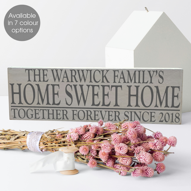 Home Sweet Home, personalised wooden house sign plaque, wedding anniversary gift