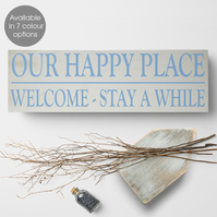 Our Happy Place, bespoke wooden house block sign plaque