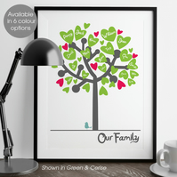 Personalised Family Tree print, keepsake gift for parents & grandparents