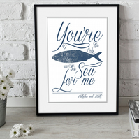 Only Fish in the Sea personalised nautical anniversary print, Valentine, wedding