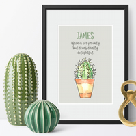 Personalised Cactus Print, anniversary or Valentine's gift for him