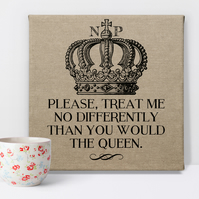 Queen Personalised Canvas Art Print, personalise gift for her