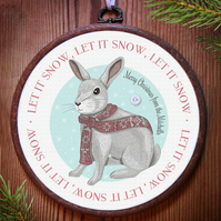 Christmas Rabbit Personalised Embroidery Hoop: handmade Christmas decoration
