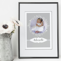 Lace Personalised Nursery Art Print, baby christening gift, nursery decor