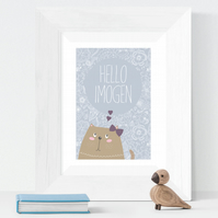 Hello Kitten Personalised Art Print, baby christening gift, nursery decor