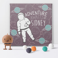 Space Adventure Personalised Canvas Nursery Art Print, birthday christening gift