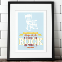 You Rock My World personalised anniversary print, Valentine gift