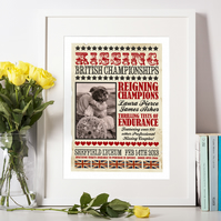British Kissing Championships, Vintage Style Art Print