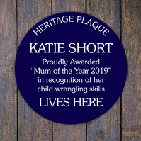Blue Heritage plaque, personalised wall sign for indoors or outdoors