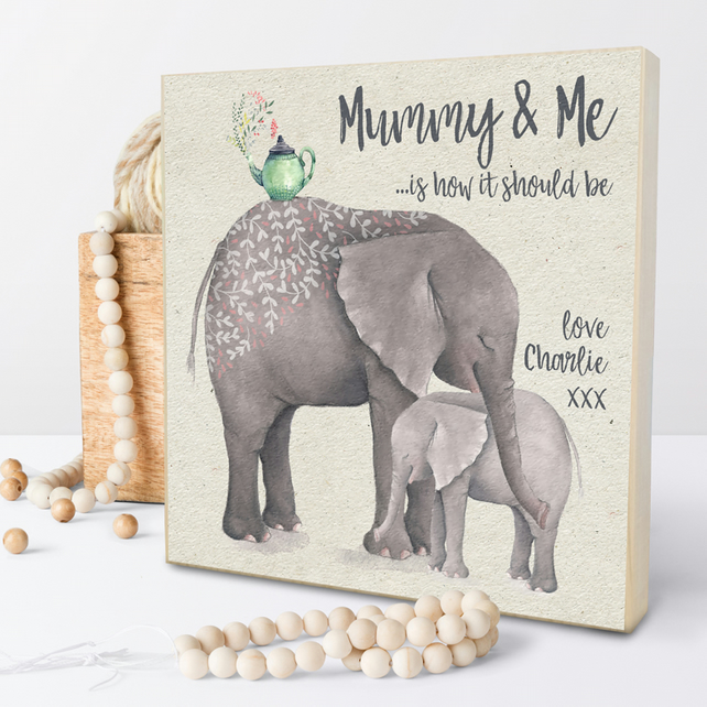 Mummy and Me, Personalised Wooden Picture Block
