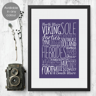 Shipping Forecast any colour, bespoke typographic print