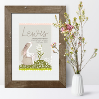 Little Hare Personalised Meaning of Name Print, christening baby gift