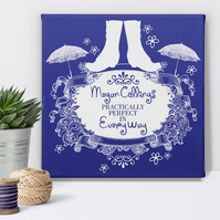 Practically Perfect Personalised Canvas Picture Print, gift idea for her