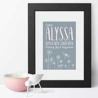 Dandelion Name Meaning Print, personalised christening gift for new baby