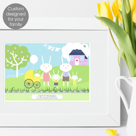 Personalised Rabbit Family Print, bespoke print for your own family