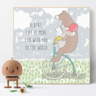 Life Is More Fun With You, Personalised Wooden Picture Block