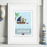 Pirate Boat Personalised Nursery Art Print, baby christening gift, nursery decor
