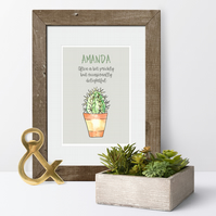 Cactus Personalised Print, gift idea for anniversary or Valentine