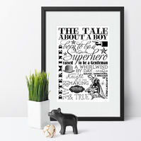 Typography Word Art Personalised Print, Gift For Baby Boy