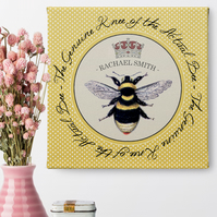 Personalised Canvas Print Bee's Knees, gift for her