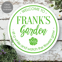 Personalised Garden Wall Sign, outdoor or indoor plaque, gift for gardener