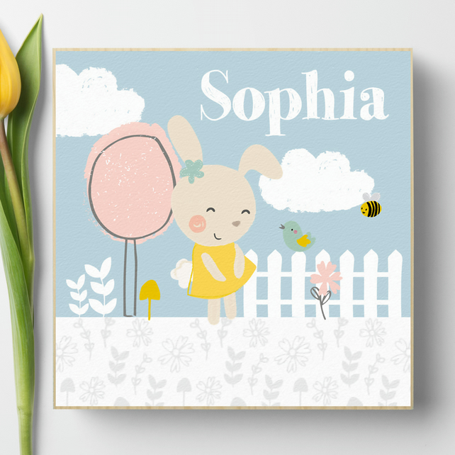 Personalised Wooden Picture Block Summer Garden, nursery decor baby gift