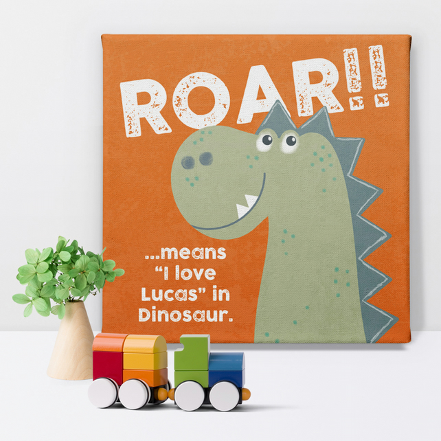 Personalised Dinosaur Name Canvas Print, picture for child's bedroom