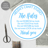 Craft Room Studio personalised wall sign, plaque for workshop