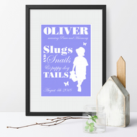 Personalised Meaning of Name Slugs and Snails Print christening new baby gift