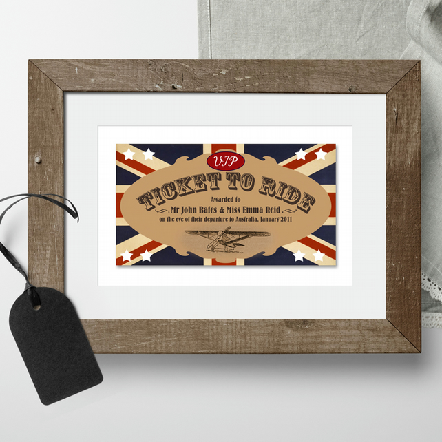 Ticket to Ride personalised print, good luck goodbye gift