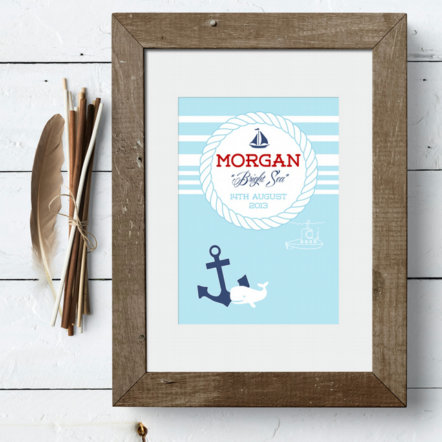 Personalised Meaning of Name Nautical Print, christening gift for new baby