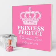 Princess Perfect Personalised Wooden Picture Block, baby child gift