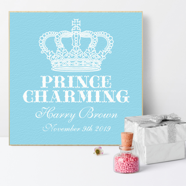 Prince Charming Personalised Wooden Picture Block, baby boy gift