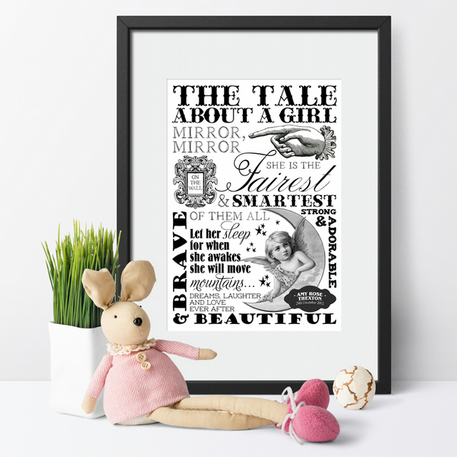 Typography Word Art Personalised Print, gift for baby girl