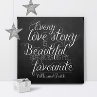 Love Story personalised canvas print, gift idea for anniversary or wedding