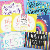 Positive Postcards - set of six decorated postcards with inspirational quotes