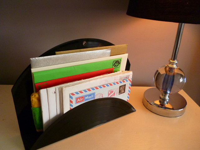 Letter Rack Magazine Holder Desk Tidy Handmade Recycled Vintage Vinyl Record