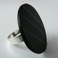 Black Rockabilly Ring Recycled Vintage Vinyl Record