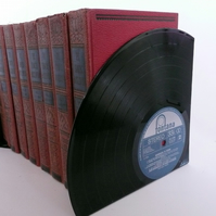 "Record Bookends Made From 12"" Vinyl Records"