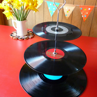 Music themed Wedding 3 tier Cake stand Vintage Vinyl Record Cakestand