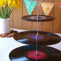 Record Cake stand Stand 3 tier Vintage Vinyl Retro Wedding Music theme party