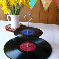 Wedding Party Cake Stand 2 tier Vintage Vinyl Record Cakestand Celebration