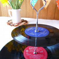Record Cake Stand 2 tier Vintage Vinyl Record Garden Party Cakestand