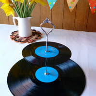 Record Cake Stand 2 tier Vintage Vinyl Record Cakestand Retro party server