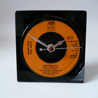 "ADAM AND THE ANTS Record Clock Vintage 7"" Recycled Desk Clock 1980 Antmusic"