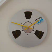 Gifts for geeks Upcycled Tape Reel Clock Music Studio Tape Wall Clock