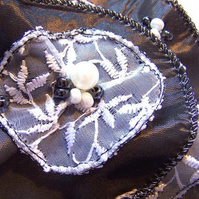 Grey Taffeta & White Lace Corsage Brooch