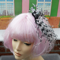 Pink & Black Ostrich Feather Comb