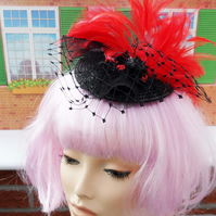 Red & Black Feather Fascinator - Comb