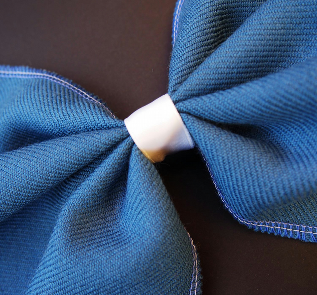 Blue & Cream Bow Brooch